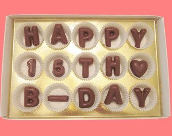 15th Birthday Gift Teen Girl Idea Born In 2004 Teenager 15 Year Old Boy Happy B Day Milk Chocolate Message