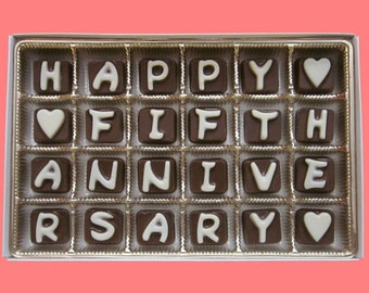 5th anniversary gift for couple 5 year wedding anniversary gift for husband gift from wife gift happy fifth anniversary chocolate letter