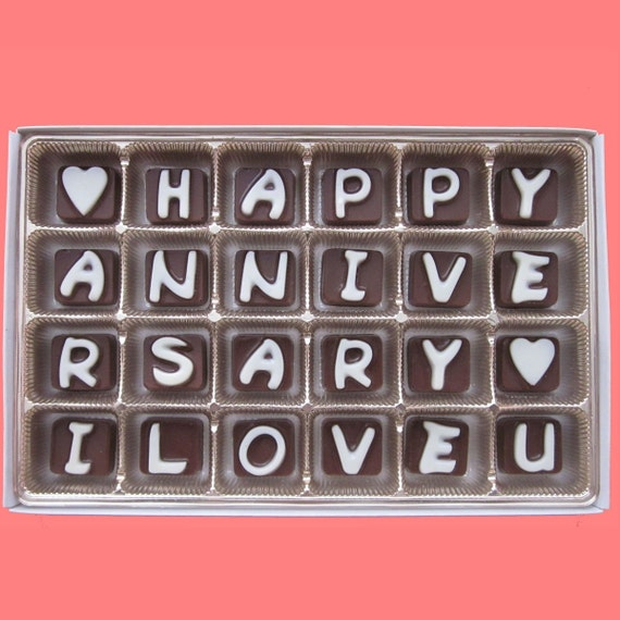I Love You Chocolate Happy Anniversary Candy Letters Gift For Etsy