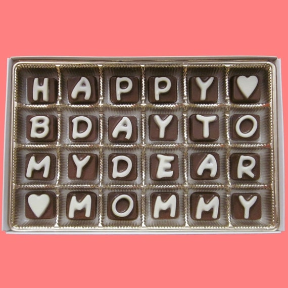 Mom Gift Birthday Gift Idea from Daughter Son Mother in Law Gift 60th 70th  80th Birthday Gift Happy B Day To My Dear Mommy Chocolate Letter