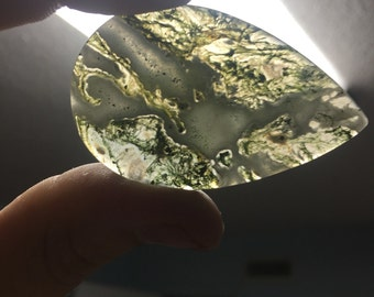 Teardrop Large Moss Agate Cabochon