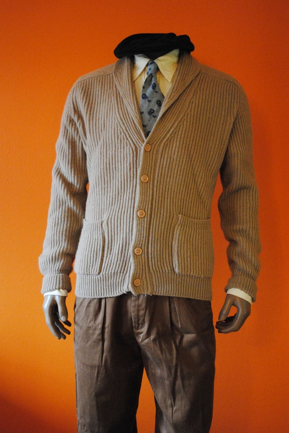Shawl Collar Wool Cardigan, sz M