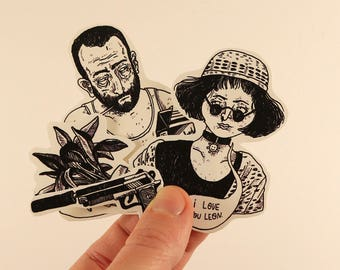 leon the professional stickers laptop labels tags - luc besson jean reno hitman illustration