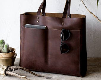 Large Dark Brown Leather Tote, Genuine Leather Bag,  Black Leather Bag, Front Pocket Bag, Handmade Cowhide Bag, Travel Bag, Oversized Bag