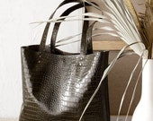 Green Khaki Crocodile-Print Leather Tote bag No. LTB-30122