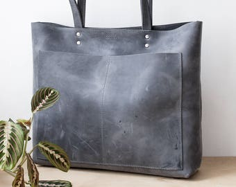 Large Distressed Grey Leather Tote 05968bb46b9b2