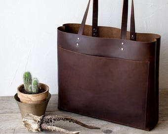 Large Dark Brown Leather Tote bag No. LPB-20112