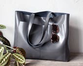 Large Grey Leather Tote bag No. LPB-1041