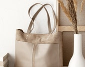 Medium Beige Leather Suede Tote bag No. MPS-1011