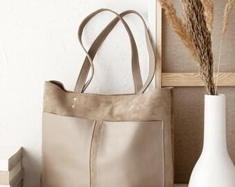 2768c47c2c Medium Beige Leather Suede Tote bag No. MPS-1011