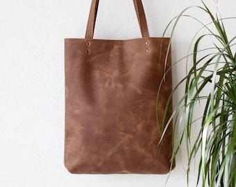 Cognac Distressed Leather Tote bag No. LPB-2078