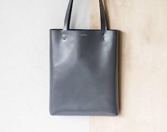 Grey Leather Tote bag No.Tl- 17062