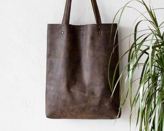 Distressed Khaki Brown Leather Tote bag No.Tl- 17065