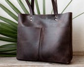 Medium Rustic Dark Brown Distressed Leather Tote bag No. LPB-70144