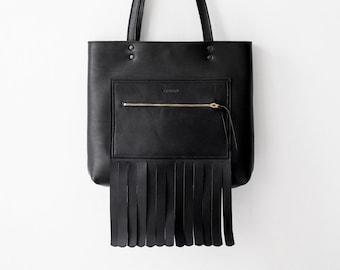 90c0dd24cd9a LAST ONE Medium Black Leather Tote bag No. LPB-9081