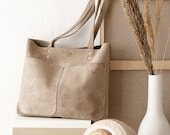 Medium Beige Leather Suede Tote bag No. MPS-1012