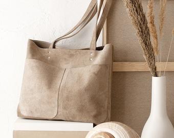 148941f660 Medium Beige Leather Suede Tote bag No. MPS-1012