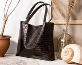 Dark Brown Textured Leather Tote bag No. LTB-3011