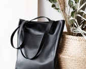 Simple Black Leather Tote bag No. LPB-20599