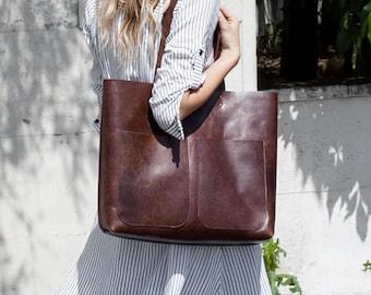 Large Dark Brown Leather Tote bag No. LPB-1013
