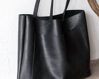 0cb164b0b728a5 Large Black Leather Tote, Genuine Leather Bag, Black Leather Bag, Front  Pocket Bag, Handmade Cowhide Bag, Travel Bag, Diaper Bag, Oversized