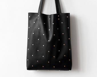 Studded Black Tote bag No. TLs- 1009 polka dot