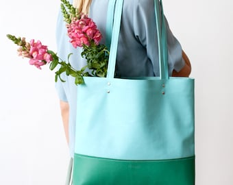 Xmas in July SALE  Emerald & Turquoise Leather Tote bag No. TLh-101