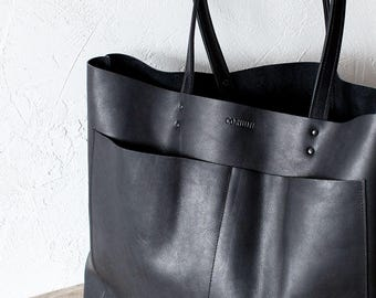 dcc93a9158 Large Black Leather Tote