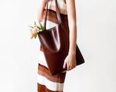 Chestnut Brown Leather Tote bag No.Tl- 9002