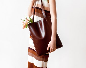 f72982aa9c36 Chestnut Brown Leather Tote bag No.Tl- 9002