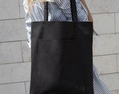 Simple Black Leather Tote bag No. LPB-2055