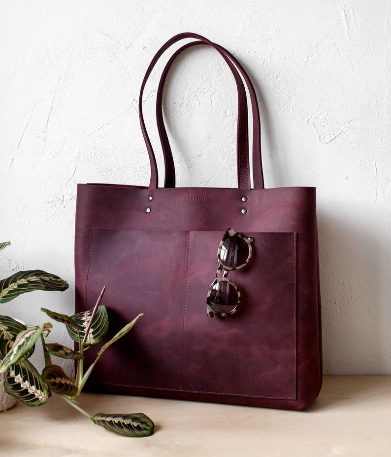 5629bcfe28 Large Burgundy Distressed Leather Tote bag genuine leather