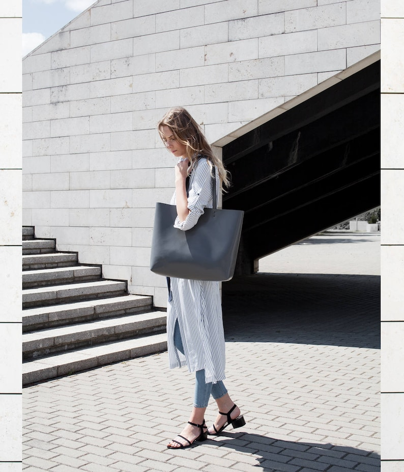 Large Grey Leather Tote bag No LPB-10412