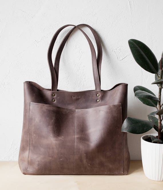 bdfb2e3c75 Large Rustic Brown Distressed Leather Tote bag No. LPB-1031