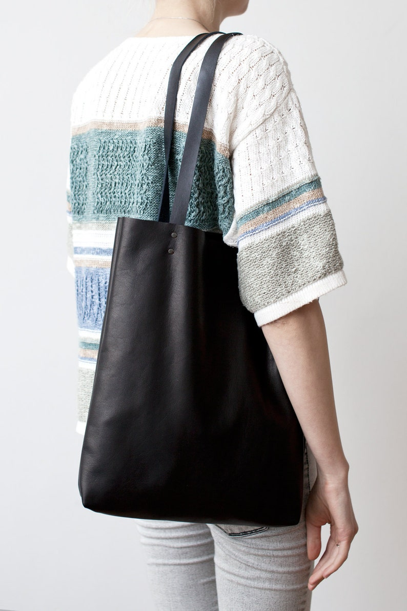 59326fb1f721 Simple Black Leather Tote bag No.Tl 6022