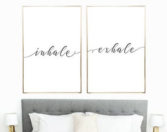 Inhale Exhale Digital Print Instant Art INSTANT DOWNLOAD Printable Wall Decor