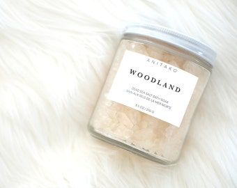 W O O D L A N D - Dead Sea Salt Soak, Scented with Cedar Wood, Cajeput and Pine Needle Oil, Bath Salt, Vegan Spa