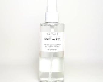 ROSE WATER - Organic Soothing Toner, Rose Hydrosol, Facial Toner, Vegan Toner