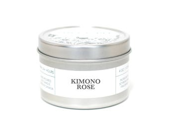 KIMONO ROSE - Travel Candle, Tin Candle, Soy Candle, Vegan, Natural Home Fragrance