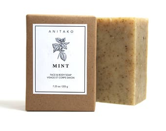 M I N T - Spearmint and Peppermint Oils Scented, Handmade Soap, Face & Body Soap, Natural Soap, Olive Oil Soap, Vegan Soap