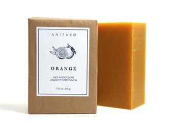 O R A N G E - Sweet Orange Oil Scented, Face & Body Soap, Handmade Soap, Natural Soap, Olive Oil Soap, Vegan Soap