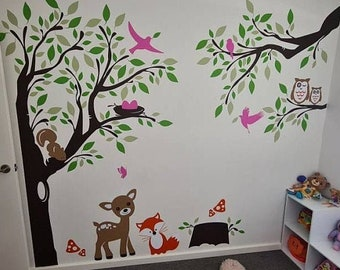 Forest-Land Wall Decal - Deer, Fox, Vixen, Squirrels, Hooter  in the Woodland Vinyl Stickers - Wall Decals for Children -  PLFR040