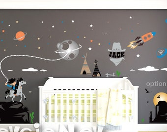 Cowboys and Aliens Wall Decals - Western Wall decals - Space Cowboys and Rangers - PLS020