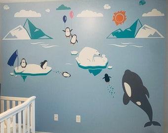 Polar Bear Wall Decals - Arctic and Antarctic Animals and Polar Friends - Penguin, Bear Cubs, Orca Whale, Narwhal - PLRFR010