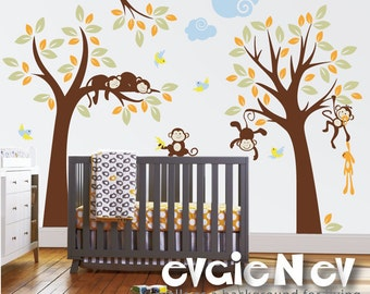 Wall Decals for Kids - Monkey Nursery Wall Decals - Trees with Branch, Monkeys and Birds Wall Stickers - PLMG040