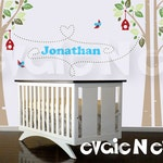 Children Wall Decal Wall Sticker - Custom Name Birch Trees with Birds and Birdhouses - PLWD040L
