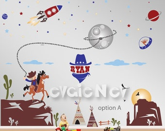 Space Cowboys and Rangers - Cowboys and Aliens Wall Stickers - Western Wall decals - PLS020