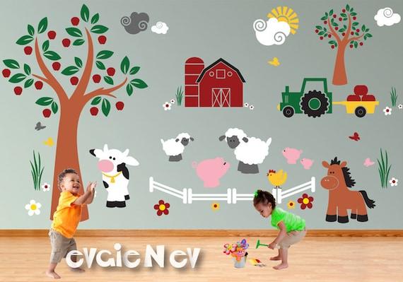 children wall decal wall sticker farm animals cow pigs | etsy