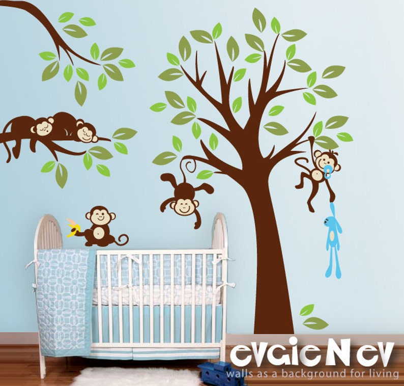 monkeys wall decals nursery wall decals baby wall decals | etsy