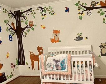 Baby Nursery Wall Decals - Forest Animals Friends stickers, Fox, Deer, Bear, Raccoon, Owls Wall Decals - PLFR050